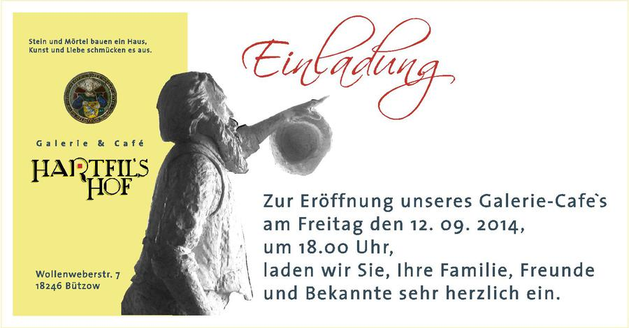 hartfilshof - galerie cafe in bützow - programm, Einladung